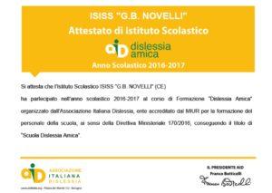 Certificazione Dislessia Amica ISISS Novelli